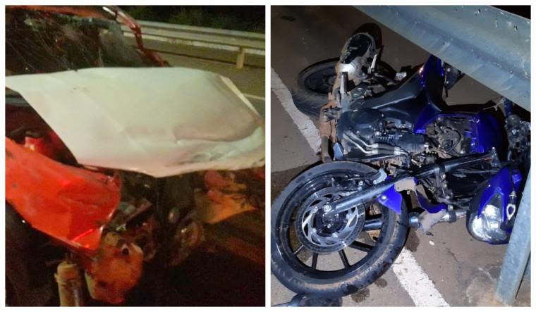 com o impacto da colisão, o motociclista teve um braço e uma perna arrancados