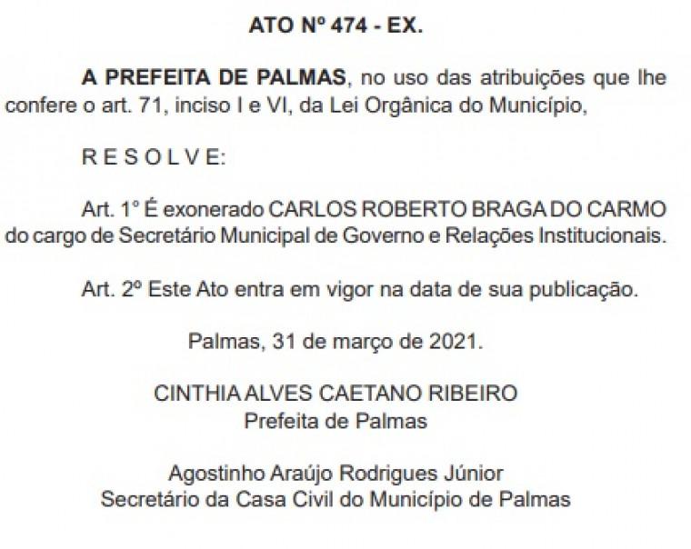 Carlos exonerado da secretaria de Governo e Relações Institucionais