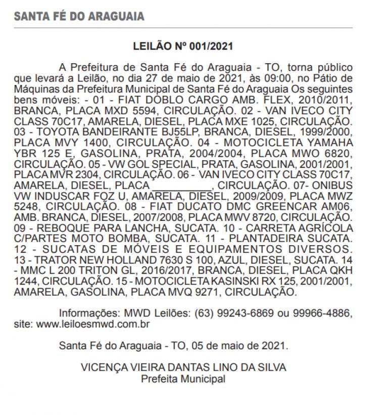 Anúncio do leilão foi publicado no Diário Oficial do Estado doa dia 10 de maio