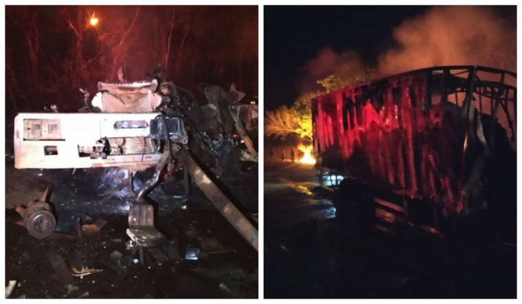 Foi preciso descerrar a cabine de um dos caminhões para resgatar o corpo de uma das vítimas