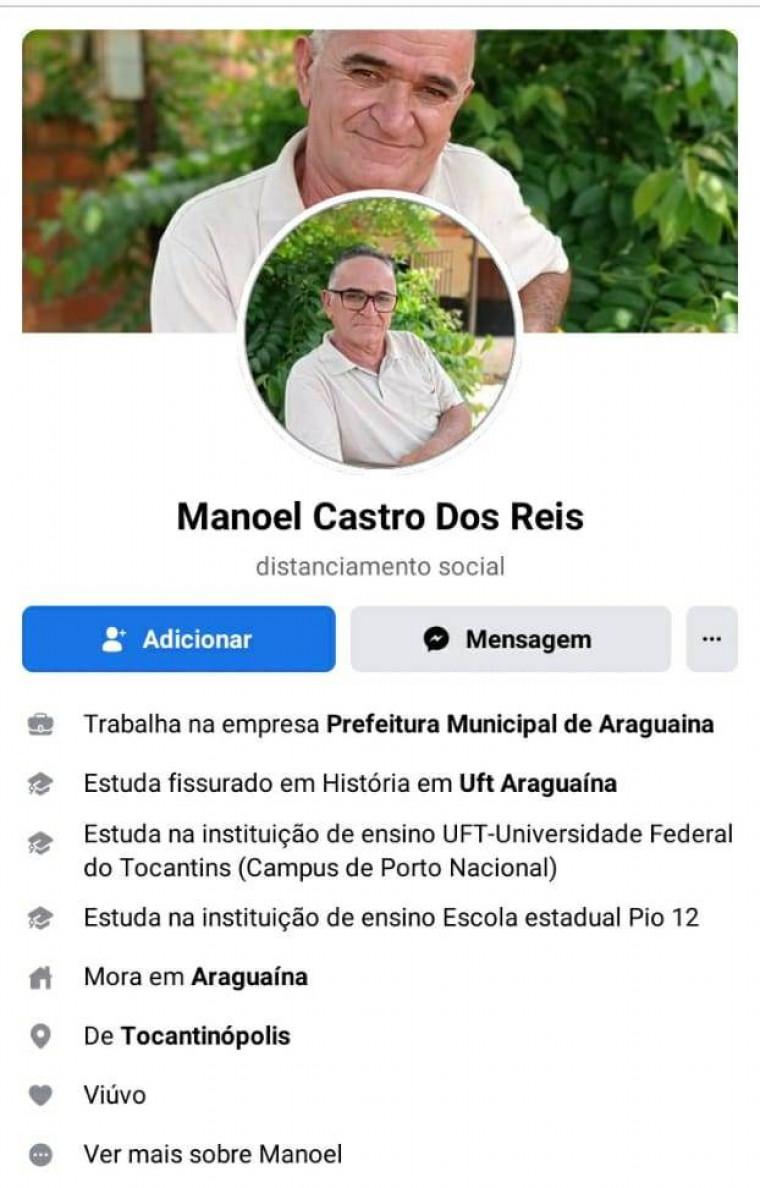 Perfil de Manoel no Facebook