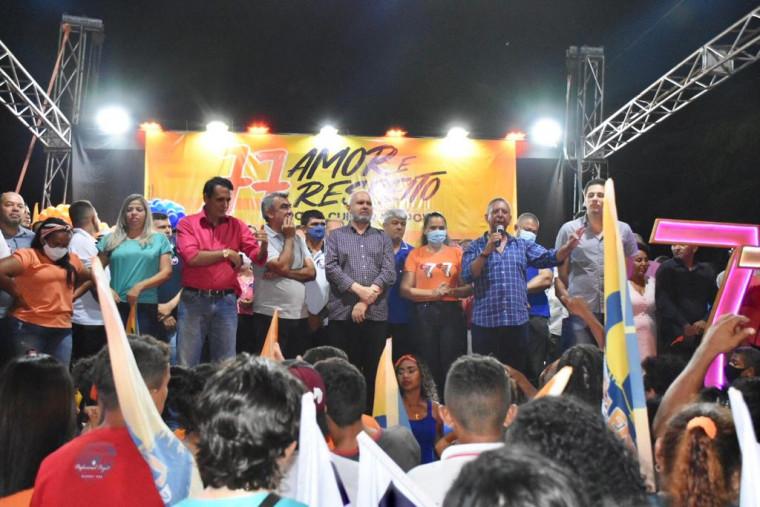 Antonio Andrade, presidente do PTB, e governador Carlesse em reuniões políticas no Bico do Papagaio