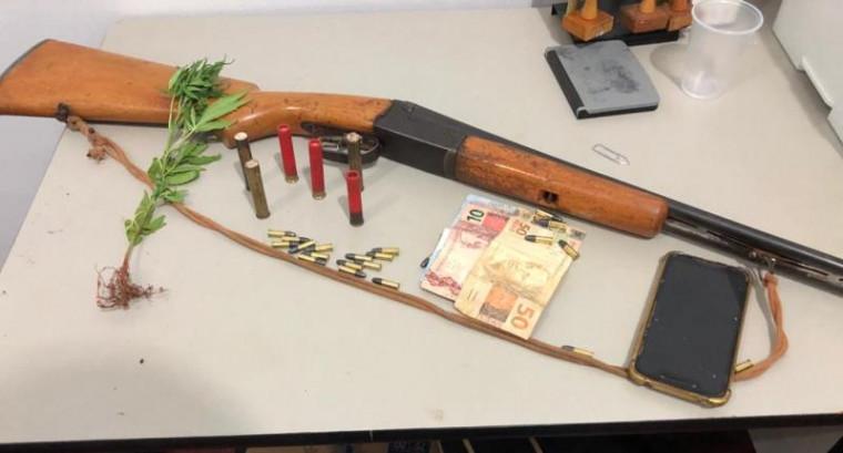 Arma de fogo e munições apreendidas pela Polícia Civil