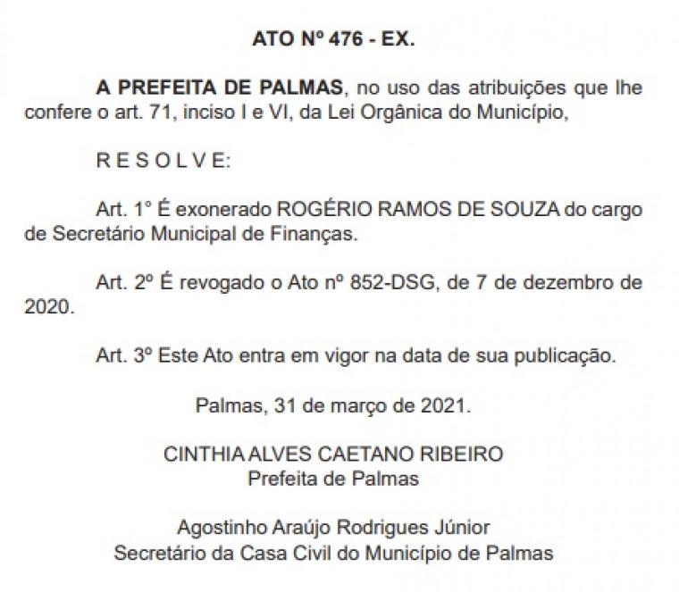 Rogério exonerado do cargo de secretário de Finanças