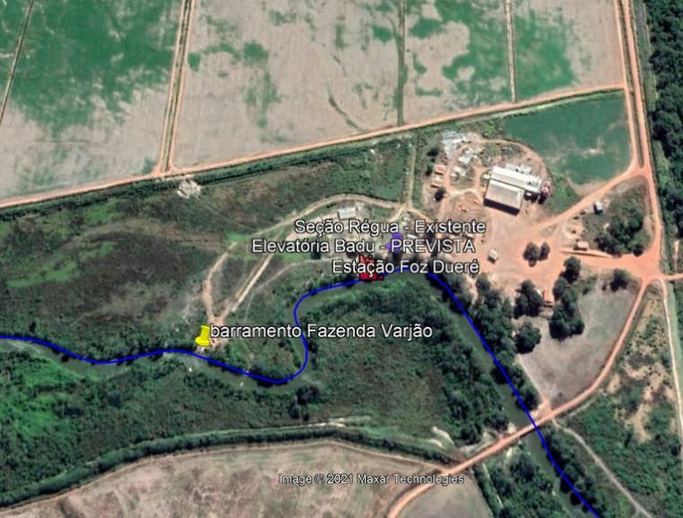 Local onde fica a barragem no Rio Dueré